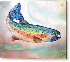 Acrylic Print featuring the painting Full On Trout by Alethea McKee