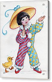 Acrylic Print featuring the drawing Fun In The Rain At The Children's Parade by Dee Davis
