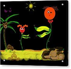 Funky Flowers Dance In The Sun  Acrylic Print by Jan Steadman-Jackson