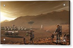 Future Mars Colonists Playing Acrylic Print by Steven Hobbs