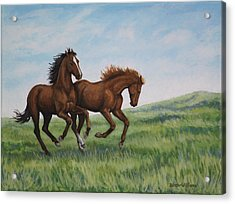 Acrylic Print featuring the painting Galloping Horses by Penny Birch-Williams