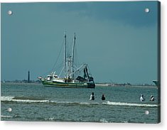 Galveston Fishing Acrylic Print by Cheryl Perin