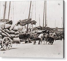 Gang Of Five Chinese Dock Workers Lean Acrylic Print by Everett