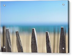 Ganivelles At Ste Maxime Beach, Golfe De St-tropez Acrylic Print by Alexandre Fundone