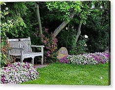 Acrylic Print featuring the photograph Garden Bench by Michelle Joseph-Long