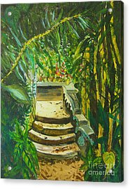 Acrylic Print featuring the painting Garden Passage by Judy Via-Wolff