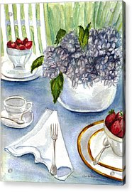 Acrylic Print featuring the painting Garden Tea Party by Clara Sue Beym