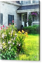 Garden With Coneflowers And Lilies Acrylic Print by Susan Savad