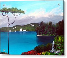 Acrylic Print featuring the painting Gardens Of Lake Como by Larry Cirigliano