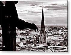 Gargoyle Over Hamburg 2 Acrylic Print by Edward Myers