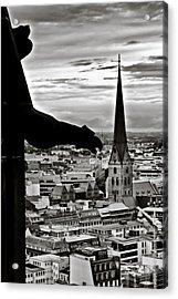 Gargoyle Over Hamburg Acrylic Print by Edward Myers