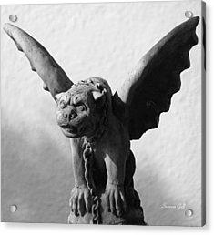 Gargoyle Up Close In Black And White Acrylic Print