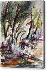 Garlic Watercolor And Pastel By Ginette Acrylic Print