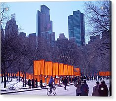 Gates And Snow In Central Park Acrylic Print by Alton  Brothers