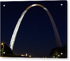 Acrylic Print featuring the photograph Gateway Arch At Night by Nancy De Flon