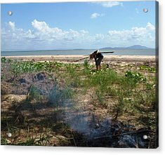 Acrylic Print featuring the photograph Gathering Sticks by Therese Alcorn