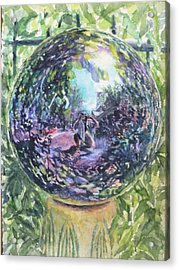 Gazing Ball Acrylic Print by Harriet Hazlett