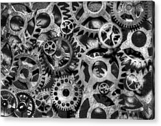 Gears Of Time Black And White Acrylic Print by David Paul Murray