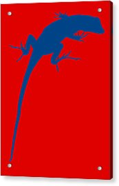Gecko Silhouette Red Blue Acrylic Print by Ramona Johnston