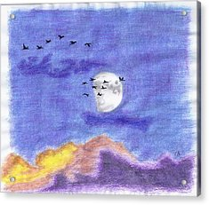 Geese And The Moon Acrylic Print by Tony  Nelson