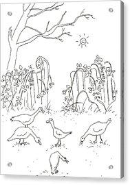 Geese In The Garden Acrylic Print by Vass Eva Rozsa