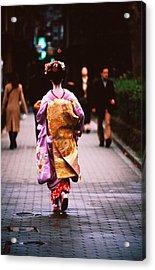 Geisha In Kimono Walking Away, Pontocho Districts, Kyoto, Japan Acrylic Print by Lonely Planet