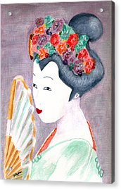 Acrylic Print featuring the painting Geisha by Paula Ayers