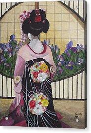 Geisha With Iris Acrylic Print by Kim Selig