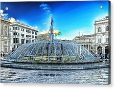 Acrylic Print featuring the mixed media Genova De Ferrari Square Fountain And Buildings by Enrico Pelos