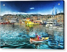 Genova Port Ships And Boats Acrylic Print by Enrico Pelos