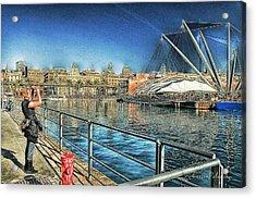 Acrylic Print featuring the mixed media Genova Saint George Building Facade And Expo Area Photographer by Enrico Pelos
