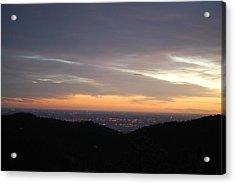 Gentle Sunrise Above Boulder Photo Acrylic Print