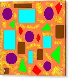 Geometric Abstract- Orange Acrylic Print by Jeannie Atwater Jordan Allen