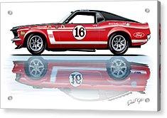 Geore Follmer Trans Am Mustang Acrylic Print by David Kyte