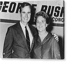 George And Barbara Bush In Houston Acrylic Print by Everett