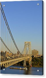 George Washington Bridge And Boat Acrylic Print