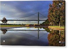 George Washington Bridge Reflections Acrylic Print by Dave Sribnik