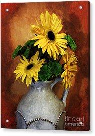 Gerber Yellow Daisies Acrylic Print by Marsha Heiken