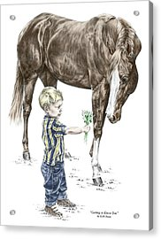 Acrylic Print featuring the drawing Getting To Know You - Boy And Horse Print Color Tinted by Kelli Swan