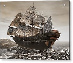 Ghost Ship Of The Cape Acrylic Print by Lourry Legarde