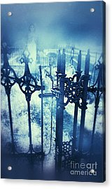 Ghostly Woman In The Cemetery Acrylic Print by Jill Battaglia