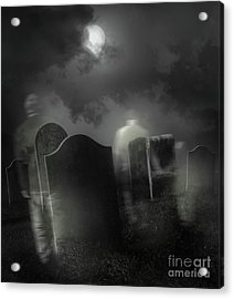 Ghosts Wandering In Old Cemetery  Acrylic Print by Sandra Cunningham