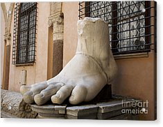 Giant Foot From Emperor Constantine Statue. Capitoline Museum. R Acrylic Print by Bernard Jaubert