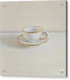 Gilt Cup On White Marble Acrylic Print by Paul Grand