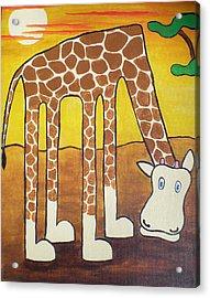 Giraffe Acrylic Print by Sheep McTavish