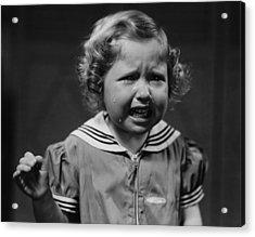 Girl (4-5) Crying, (b&w) Acrylic Print by George Marks