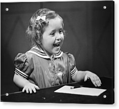 Girl (4-5) Sitting At Table, Smiling, (b&w) Acrylic Print by George Marks