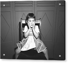 Girl (5-5) Sitting Astride Chair, Making Face, (b&w), Acrylic Print by George Marks