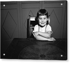 Girl (5-5) Sitting At Table, (b&w), Portrait Acrylic Print by George Marks