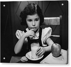 Girl (6-7) Sitting At Table, Having Breakfast, (b&w) Acrylic Print by George Marks